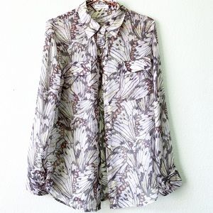 EQUIPMENT butterfly wing print silk sheer shirt S